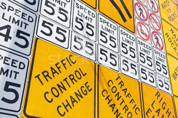 Fal út figyelmeztetés feliratok fedett öreg Stock fotó © pixelsnap