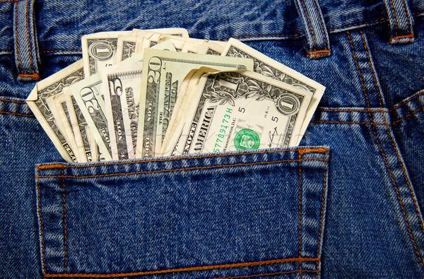 Hát farmer zseb tele pénz pár Stock fotó © pixelsnap