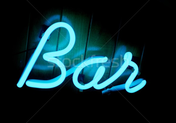 Lit Neon Bar Sign Stock photo © pixelsnap