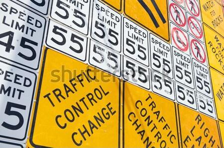 Wall of Road Warning Signs Stock photo © pixelsnap