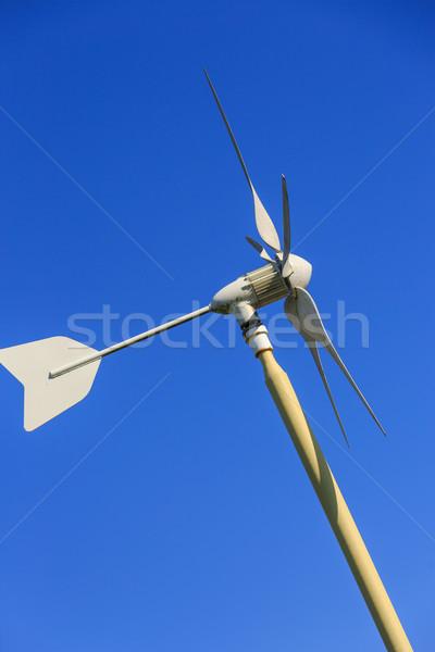 Szél generátor kék ég otthon fém zöld Stock fotó © pixinoo