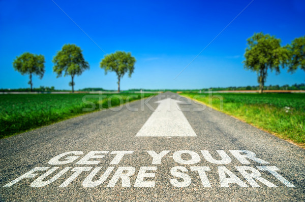Get your future started concept. Words on the road Stock photo © pixinoo