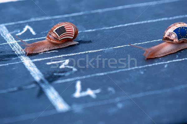 Verseny metafora USA Európa pénz Euro Stock fotó © pixinoo