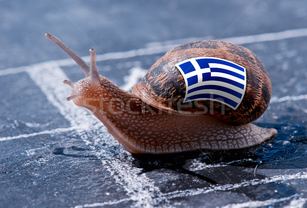 finish line winning of a snail with the colors of Greece flag Stock photo © pixinoo