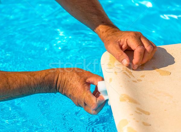 Schoon water lijn zwembad bad zwemmen schoonmaken Stockfoto © pixinoo
