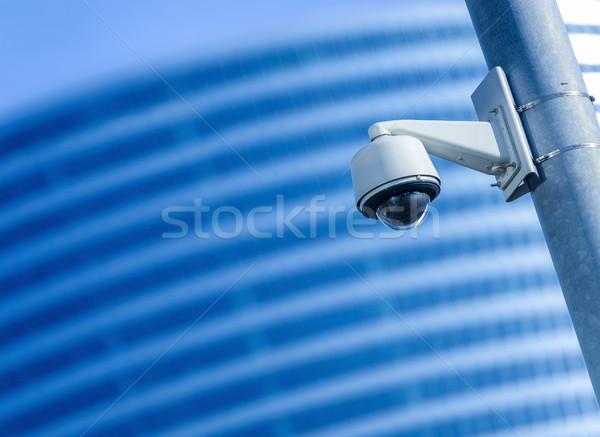 Biztonság cctv kamera megfigyelés irodaház utca Stock fotó © pixinoo