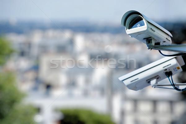Güvenlik kamera şehir video suç güvenlik güvenli Stok fotoğraf © pixinoo