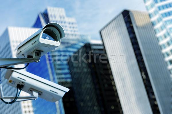 Biztonsági kamera városi videó épület bűnözés biztonság Stock fotó © pixinoo