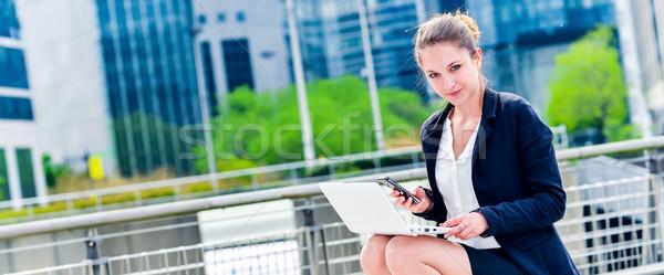 Dynamisch jonge uitvoerende werken buiten panoramisch Stockfoto © pixinoo