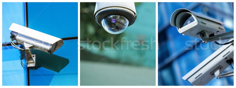 Panoramic collage of security CCTV camera or surveillance system Stock photo © pixinoo