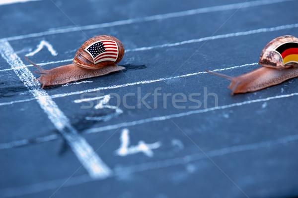 Verseny metafora USA Németország pénz bank Stock fotó © pixinoo