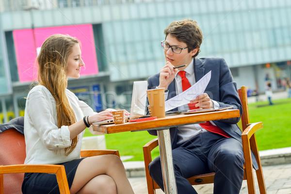 Eladó csapat kint asztal fiatal igazgató Stock fotó © pixinoo