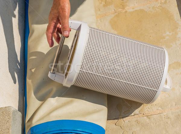 Cartuccia piscina filtrare servizio stoccaggio tecnica Foto d'archivio © pixinoo