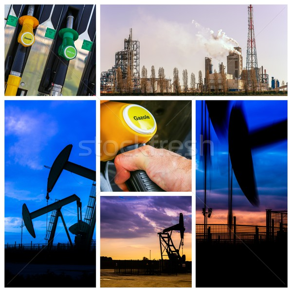 Collage of Oil fuel pump petrol station and product Stock photo © pixinoo