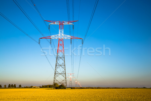 Electricity transmission pylon silhouetted against blue Stock photo © pixinoo