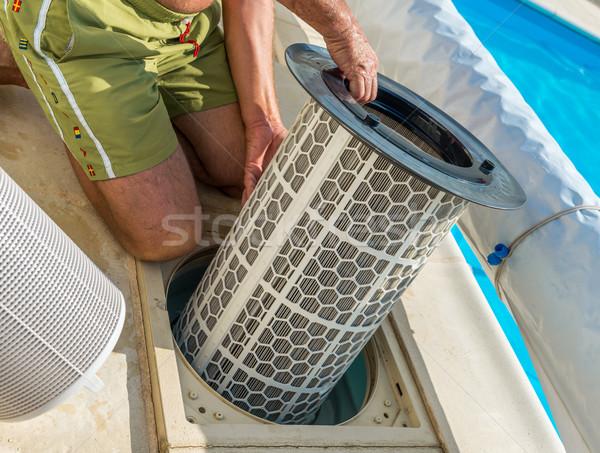 Cartridge pool filter Stock photo © pixinoo