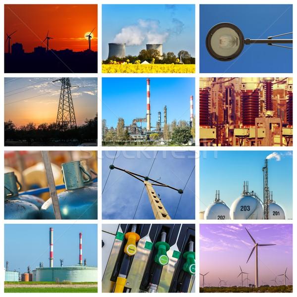 Foto stock: Poder · energia · conceitos · verde · indústria · blue · sky
