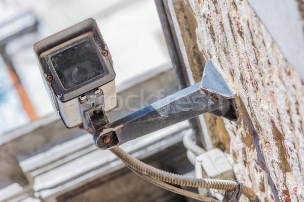Közelkép kilátás biztonsági kamera városi videó modern Stock fotó © pixinoo
