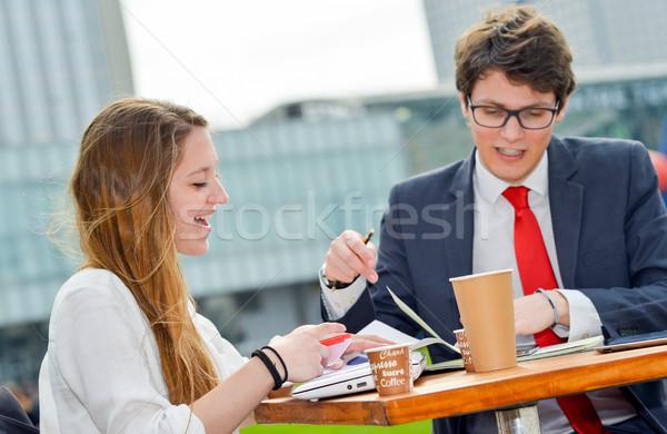 Satış takım açık havada tablo genç yürütme Stok fotoğraf © pixinoo