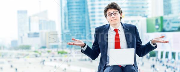 dynamic young executive working outside Stock photo © pixinoo
