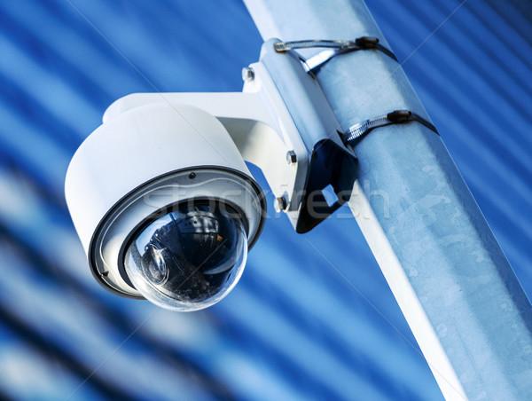 Veiligheid cctv camera kantoorgebouw straat Stockfoto © pixinoo