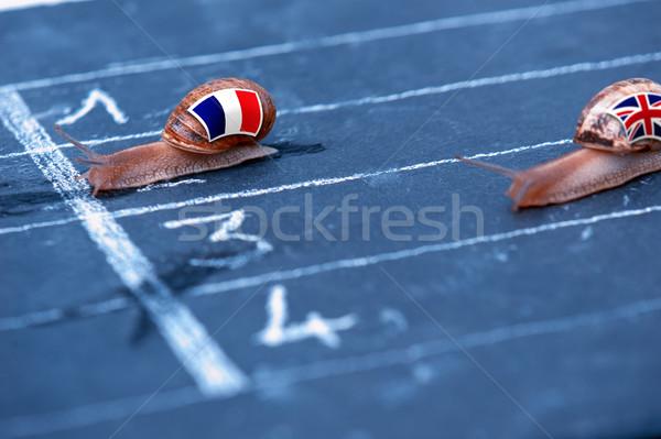 Race metafoor Frankrijk Engeland geld vlag Stockfoto © pixinoo