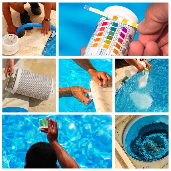 collage maintenance of a private pool Stock photo © pixinoo
