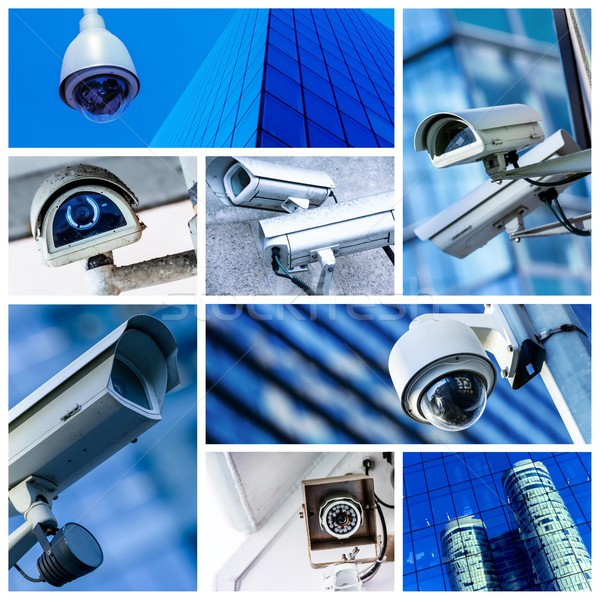 collage of security camera and urban video Stock photo © pixinoo