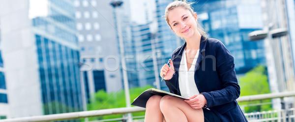 Dynamisch jonge uitvoerende agenda panoramisch Stockfoto © pixinoo