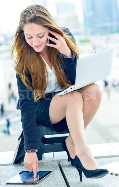 Dynamisch jonge uitvoerende agenda meisje Stockfoto © pixinoo