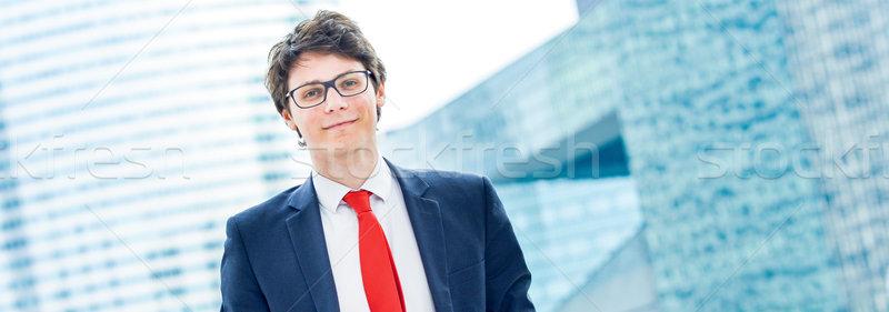 Fiatal srác szemüveg áll szabadtér panorámakép kilátás Stock fotó © pixinoo