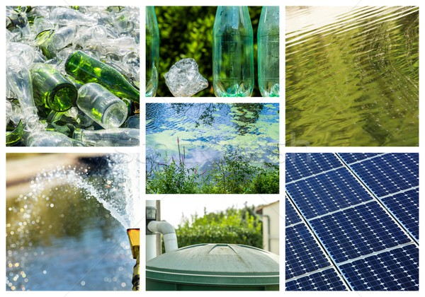Collage about recycling on clean energy Stock photo © pixinoo