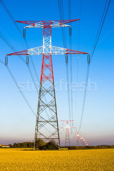 Elektromosság kék építkezés fény hálózat zöld Stock fotó © pixinoo