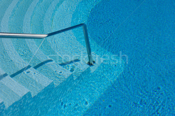 Escalier main courante piscine bleu Photo stock © pixpack