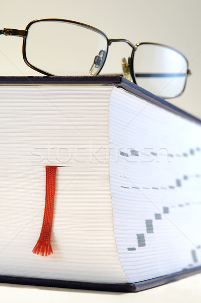 Thick book with reading glasses Stock photo © pixpack