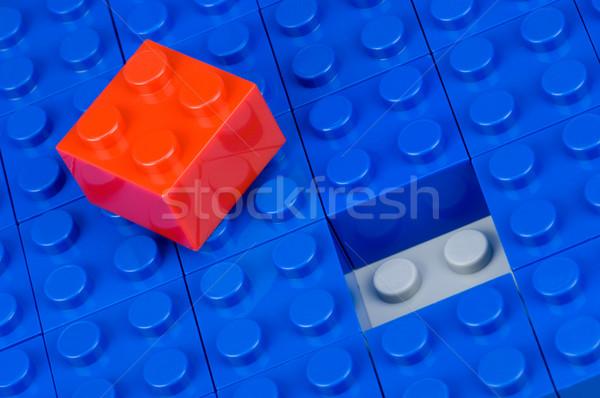 Czerwony budynku dziedzinie niebieski jeden budowy Zdjęcia stock © pixpack