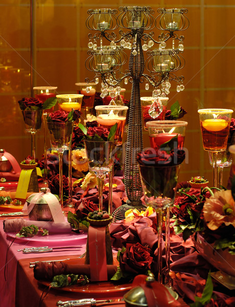 Luxurious red dining table Stock photo © pixpack