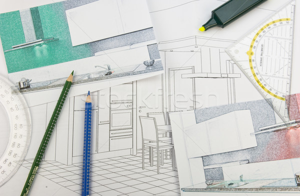 Plan scribble of a fitted kitchen Stock photo © pixpack