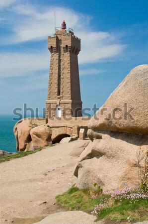 Deniz feneri granit seyahat güvercin yol kayalar Stok fotoğraf © pixpack
