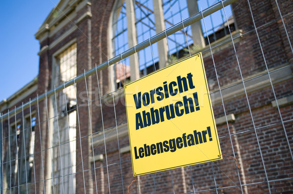Precaución demolición construcción signo edificios Foto stock © pixpack