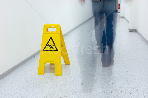Warning sign slip hazard Stock photo © pixpack