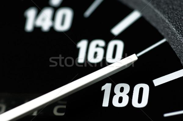 Velocímetro preto branco rápido corrida condução Foto stock © pixpack