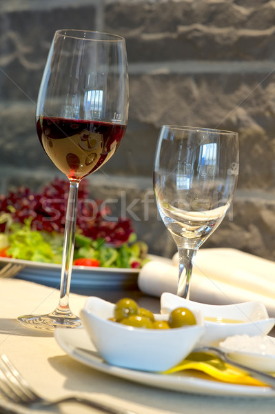 Couvert banquet table vin verre restaurant Photo stock © pixpack