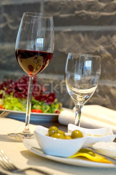 ストックフォト: カバー · 宴会 · 表 · ワイン · ガラス · レストラン