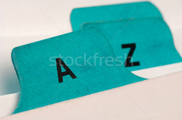 Green file cards A and Z Stock photo © pixpack