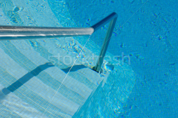 Stair and handrail into the pool Stock photo © pixpack