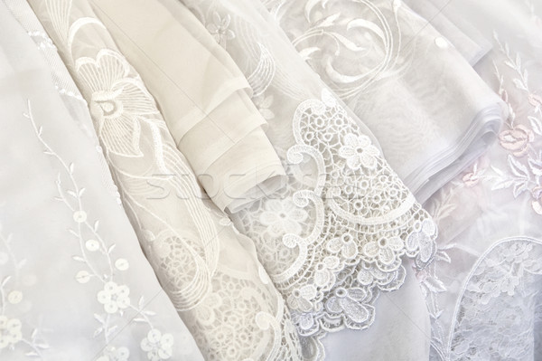 Koronki tkaniny biały Zdjęcia stock © pixpack