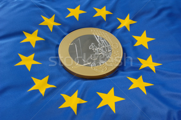 Euros moneda europeo bandera azul financiar Foto stock © pixpack