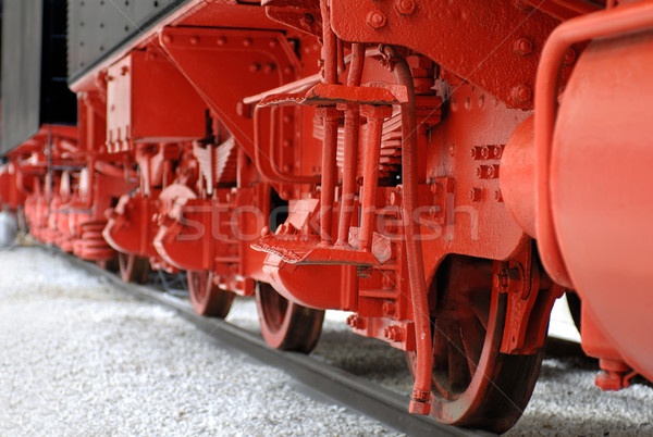 Rood wielen vintage stoomlocomotief mobiele Stockfoto © pixpack