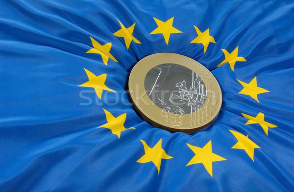 евро монеты европейский флаг синий Финансы Сток-фото © pixpack